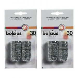 120 x Bolsius Alu Manschetten Passmannschette Schutzhülse Kerzen Fixieren 4 Pack