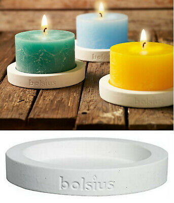 3 x Bolsius Kerzenteller Ø 180mm Beton Kerzenhalter Kerzenständer Kerzenleuchter