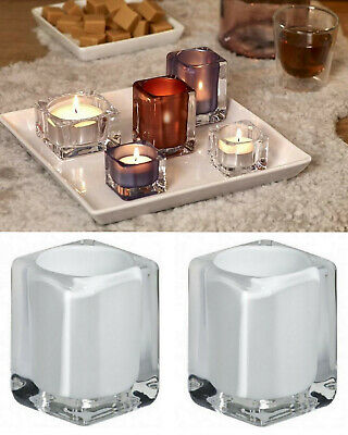 6 Stück Teelichtgläser 4-eckig Teelichthalter 76x55 mm Kerzenhalter Teelichtglas