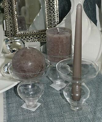 4 Stück Kerzenhalter Glas 117x100 mm Kerzenständer Kerzenleuchter Tischdeko Klar