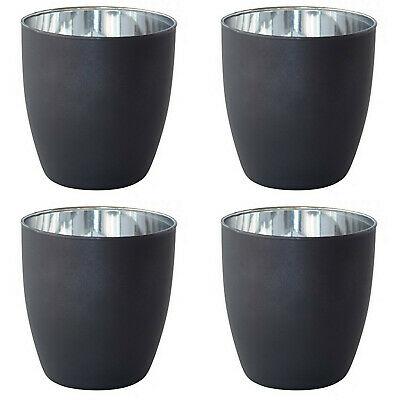 12 Duni Kerzenhalter 90x85 mm Poppie Kerzenglas Windlicht Schwarz-Silber