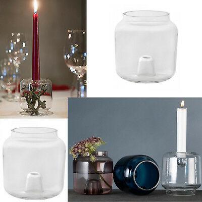 8 x Duni Kerzenhalter & Vase double 95x90 mm Glas klar Blumenvase Kerzenständer