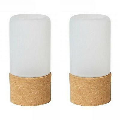 8 Stück Kerzenhalter 140 x 70 mm frosted Glas mit Fuß aus Kork Teelichthalter