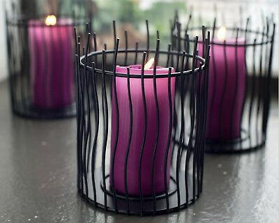 4 Stück Kerzenhalter schwarz aus Metall 150x120 mm Kerzenständer Kerzenleuchter