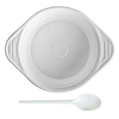 100 Einweg Löffel + 100 Einweg Suppenterrinen Suppenteller 500ml Plastik weiß