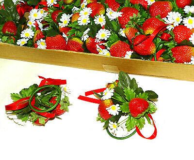 12 Stück Serviettenringe Kerzenkranz Erdbeeren Tischdeko Kerzenring Blumenkranz