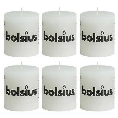 6 Stück Bolsius Rustik Stumpenkerzen 80x68 mm Rustic Kerzen Weiß