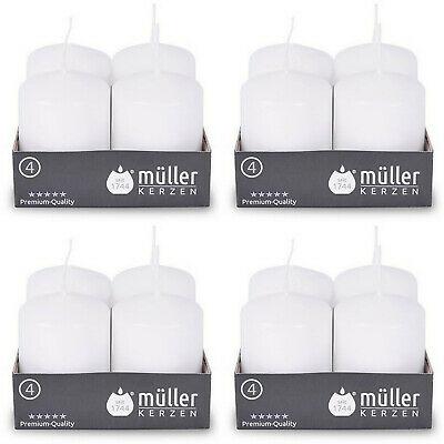 24 Stück Müller Stumpenkerzen 62 x 48 mm Qualitäts-Kerzen Weiß (6 x 4er Pack)