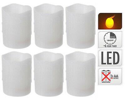 6 Stück LED Kerzen Echtwachs 100x75 mm Stumpenkerzen Timer bewegliche Flamme