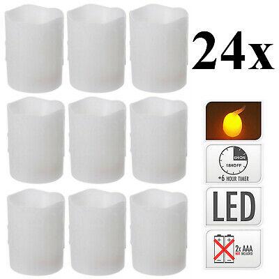 24 Stück LED Kerzen Echtwachs 100x75 mm Stumpenkerzen Timer bewegliche Flamme
