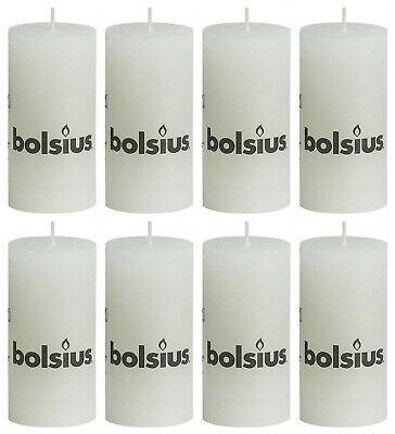 8 Stück Bolsius Rustic Stumpenkerzen 100x50 mm Rustik Kerzen Weiß