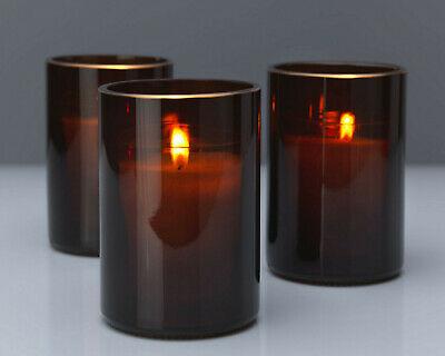 6 Stück Kerzenglas 119x83 mm mit Nachfüllkerze Kerzenhalter Kerzen im Glas Braun