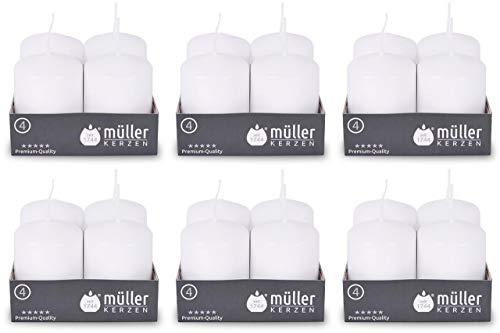 24 Stück Müller Stumpenkerzen 62 x 48 mm BSS Durchbrandsperre selbstlöschend (6 Pack x 4er) 10 Stunden Brenndauer Gastro Qualität Kerzen