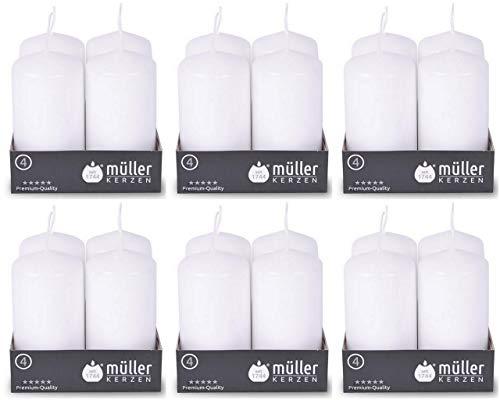 24 Stück Müller Stumpenkerzen 90 x 48 mm BSS Durchbrandsperre selbstlöschend (6 Pack x 4er) 20 Stunden Brenndauer Gastro Qualität Kerzen (Weiß, 24)