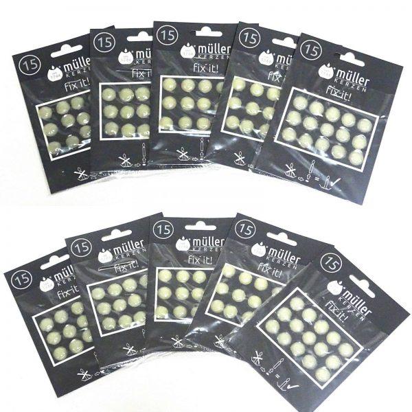 75-150 Stück Wachsplättchen Klebeplättchen Kerzenplättchen Klebepunkte für Kerze - 150 Stück = 10 Pack x 15 Stück