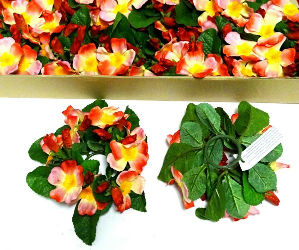12 Stück Kerzenringe Kerzenkranz PRIMELN Blumen Ring Blumenkranz Tischdeko   - Rot