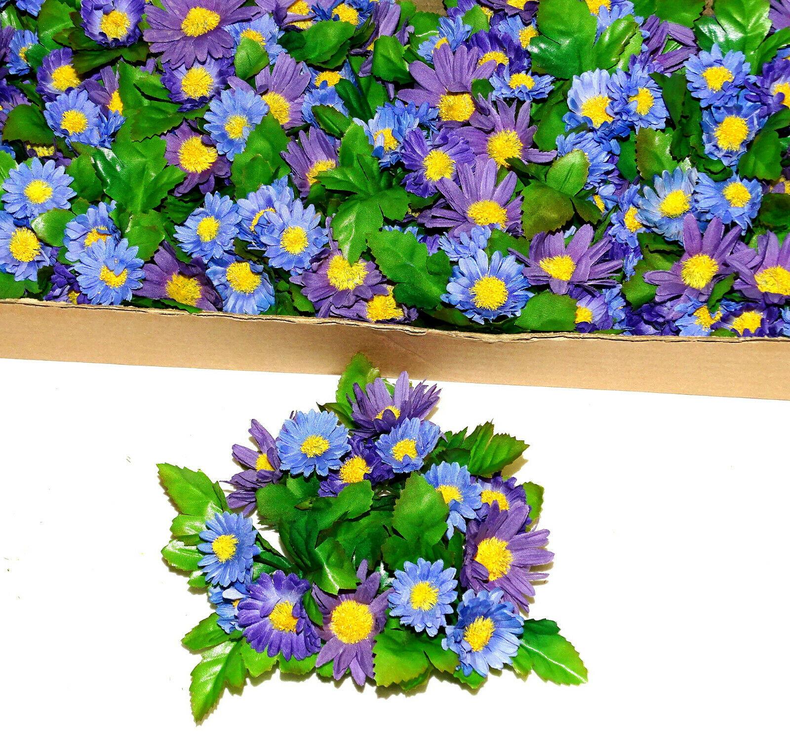 12 Stück Kerzenringe Kerzenkranz ASTER Blumen Ring Blumenkranz Tischdeko   - Blau