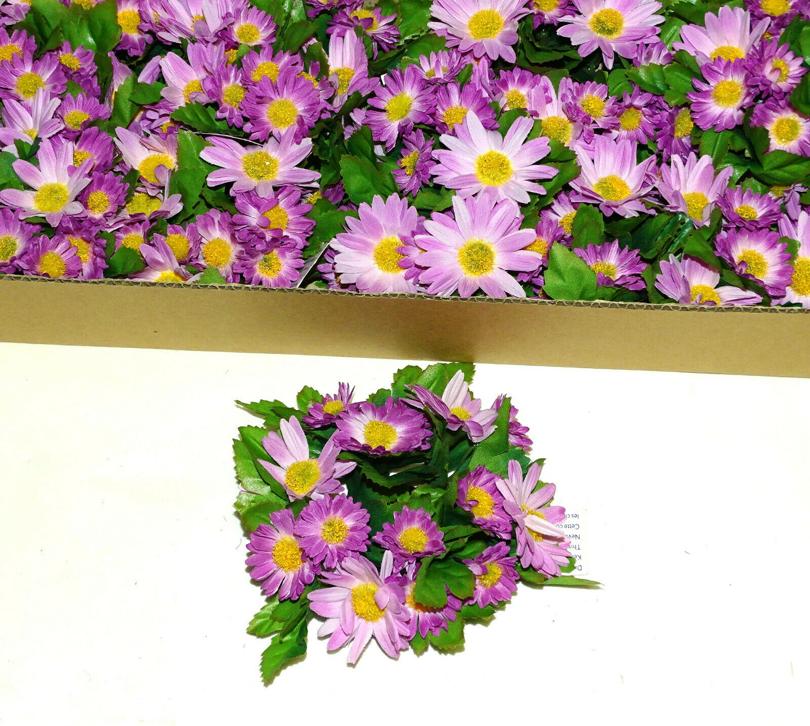 12 Stück Kerzenringe Kerzenkranz ASTER Blumen Ring Blumenkranz Tischdeko   - Lila