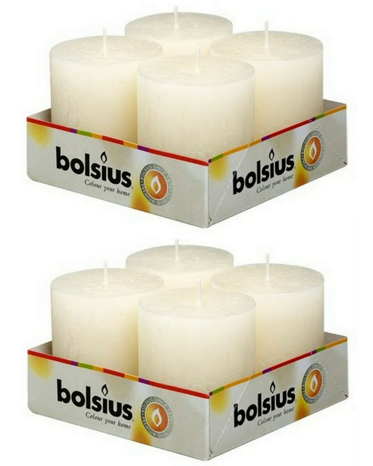 8 Stück Bolsius Rustik Stumpenkerzen 80x68 mm Qualitäts-Kerzen Candle Rustic - Elfenbein