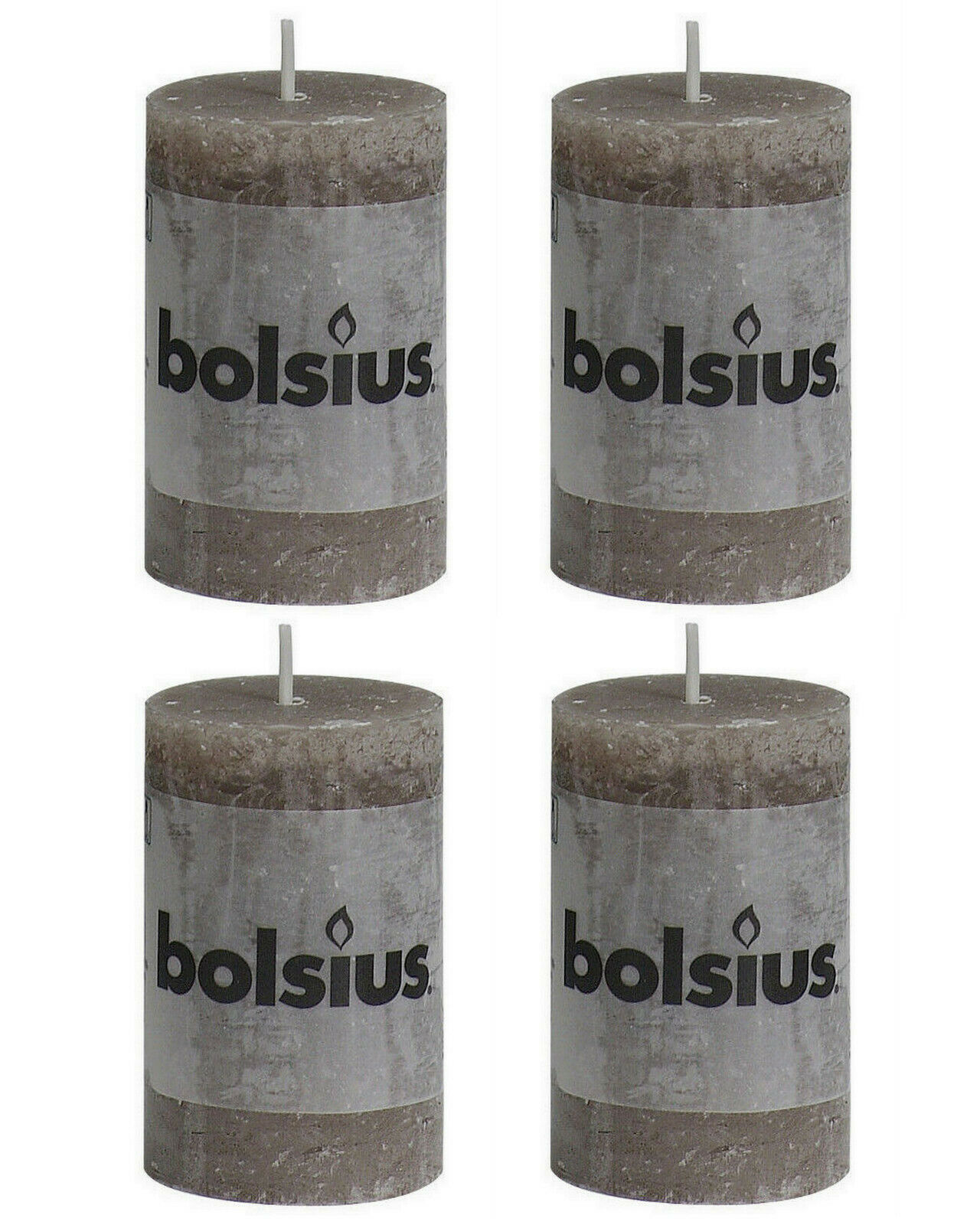 8 Stück Bolsius Rustic Stumpenkerzen 80x50 mm Qualitäts-Kerzen Candle  - Taupe