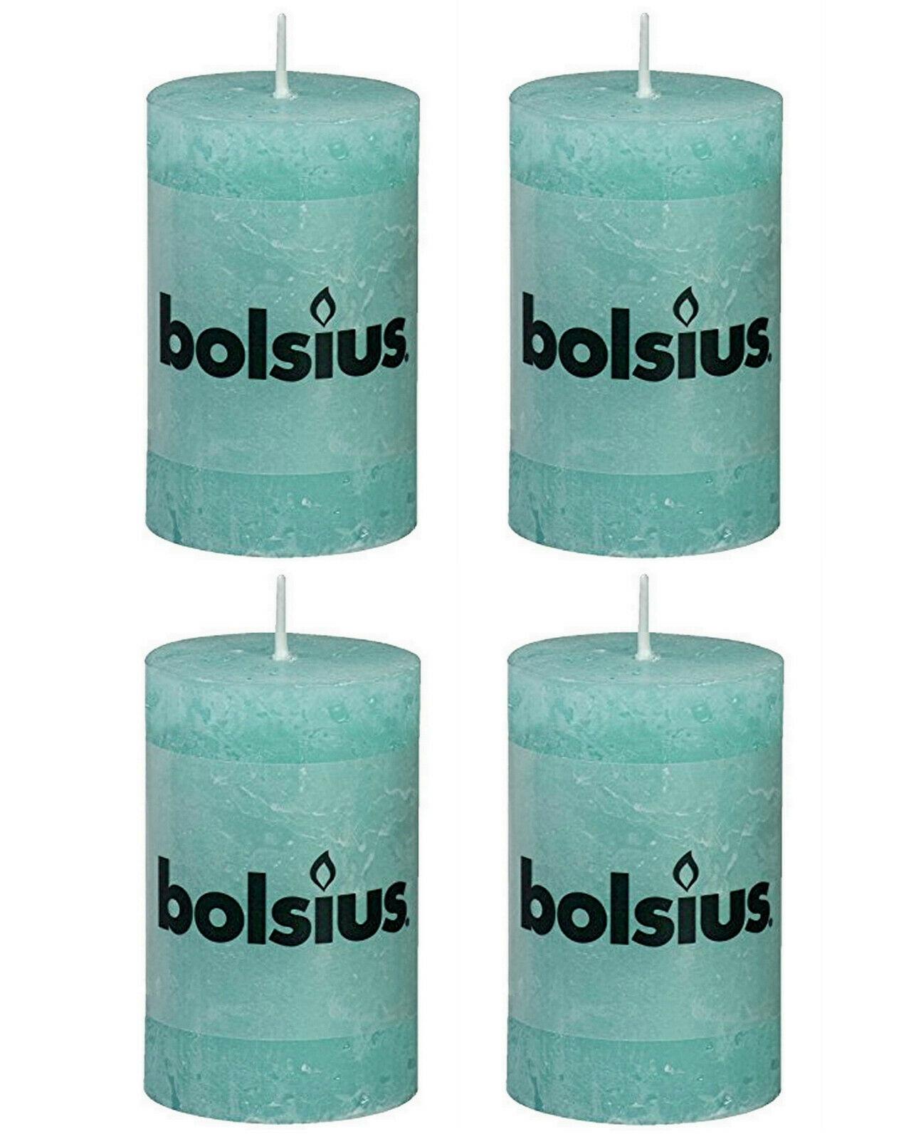 8 Stück Bolsius Rustic Stumpenkerzen 80x50 mm Qualitäts-Kerzen Candle  - Aqua