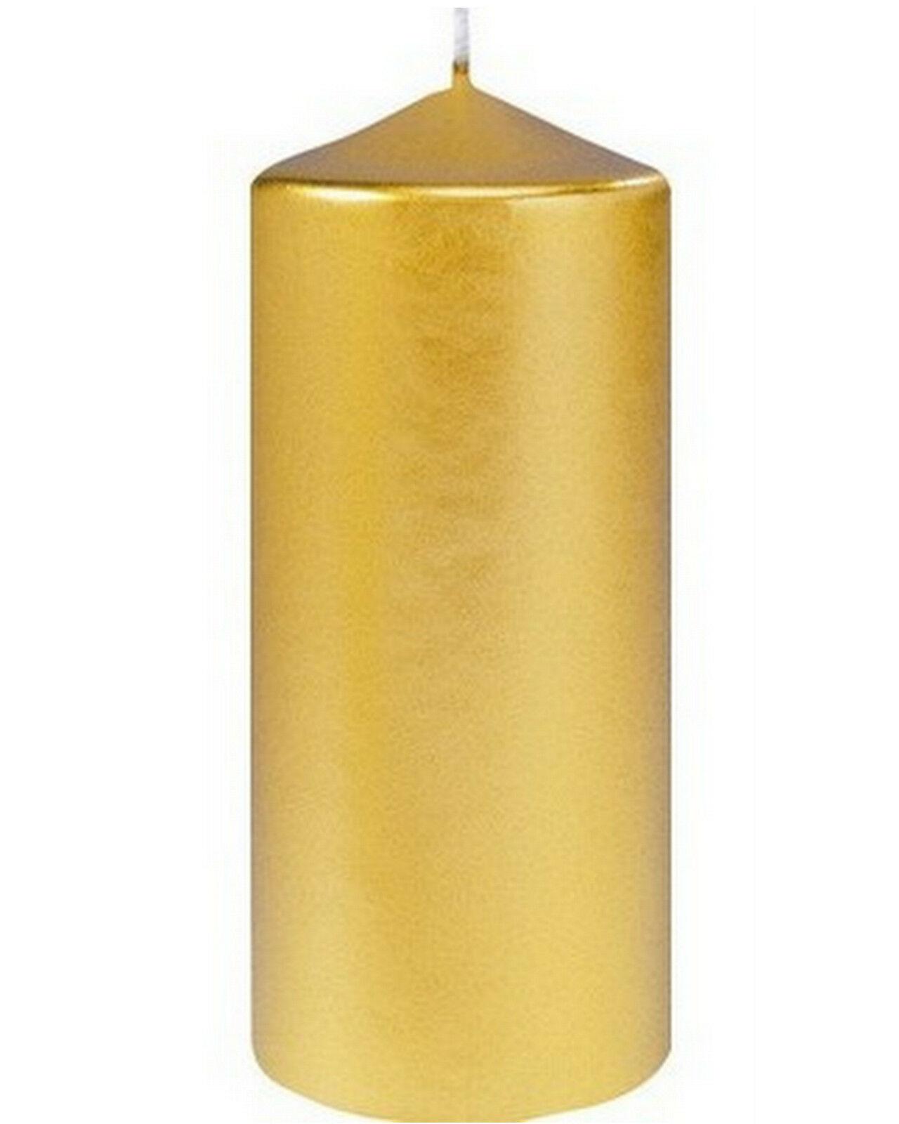 12 Stück Stumpenkerzen 150 x 70 mm groß Stumpen Kerzen Gold glänzend Candle - 12 Stück