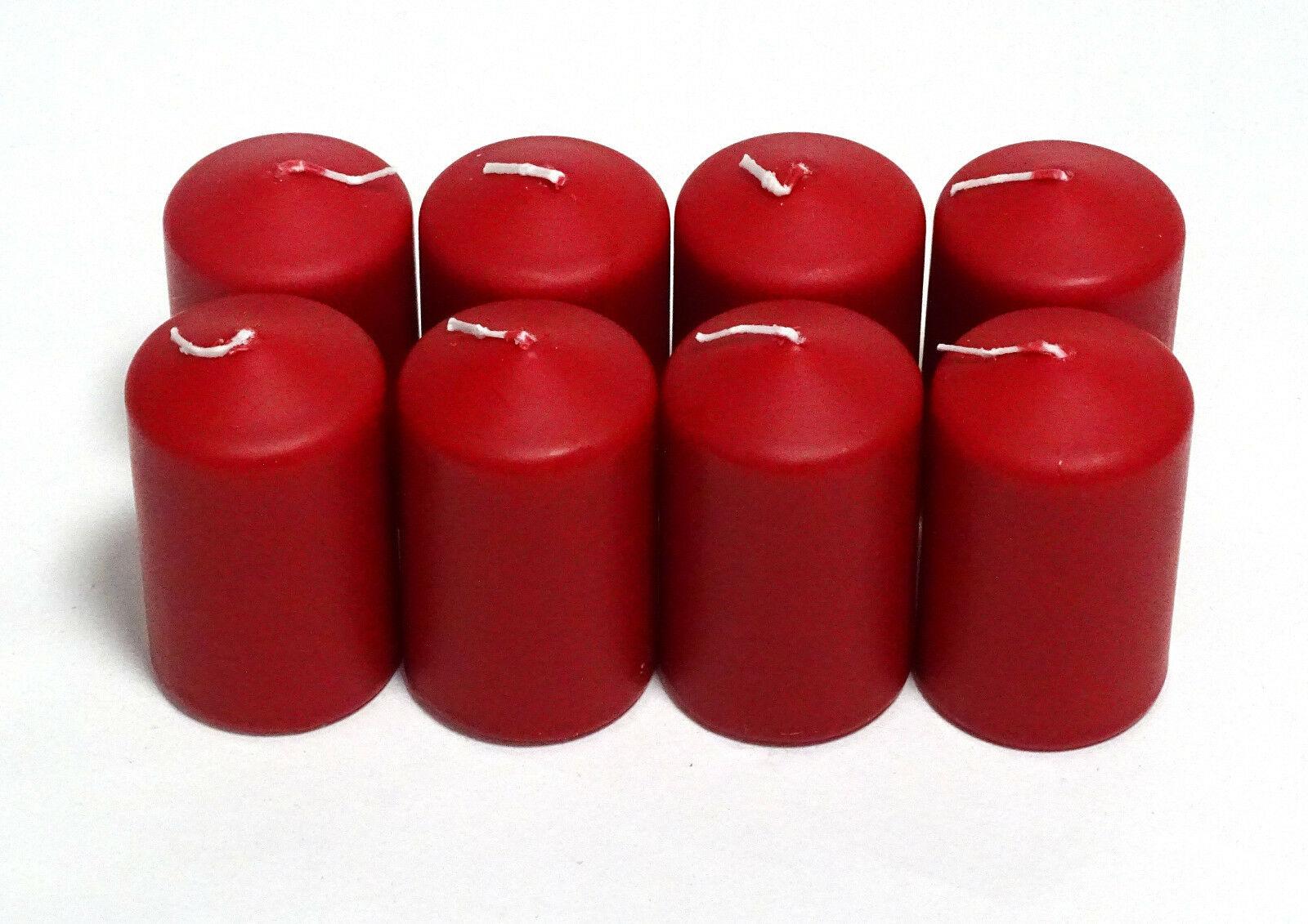 8 - 16 Stück Stumpenkerzen 95 x 58 mm Candle Stumpen Kerzen Rot - 8 Stück