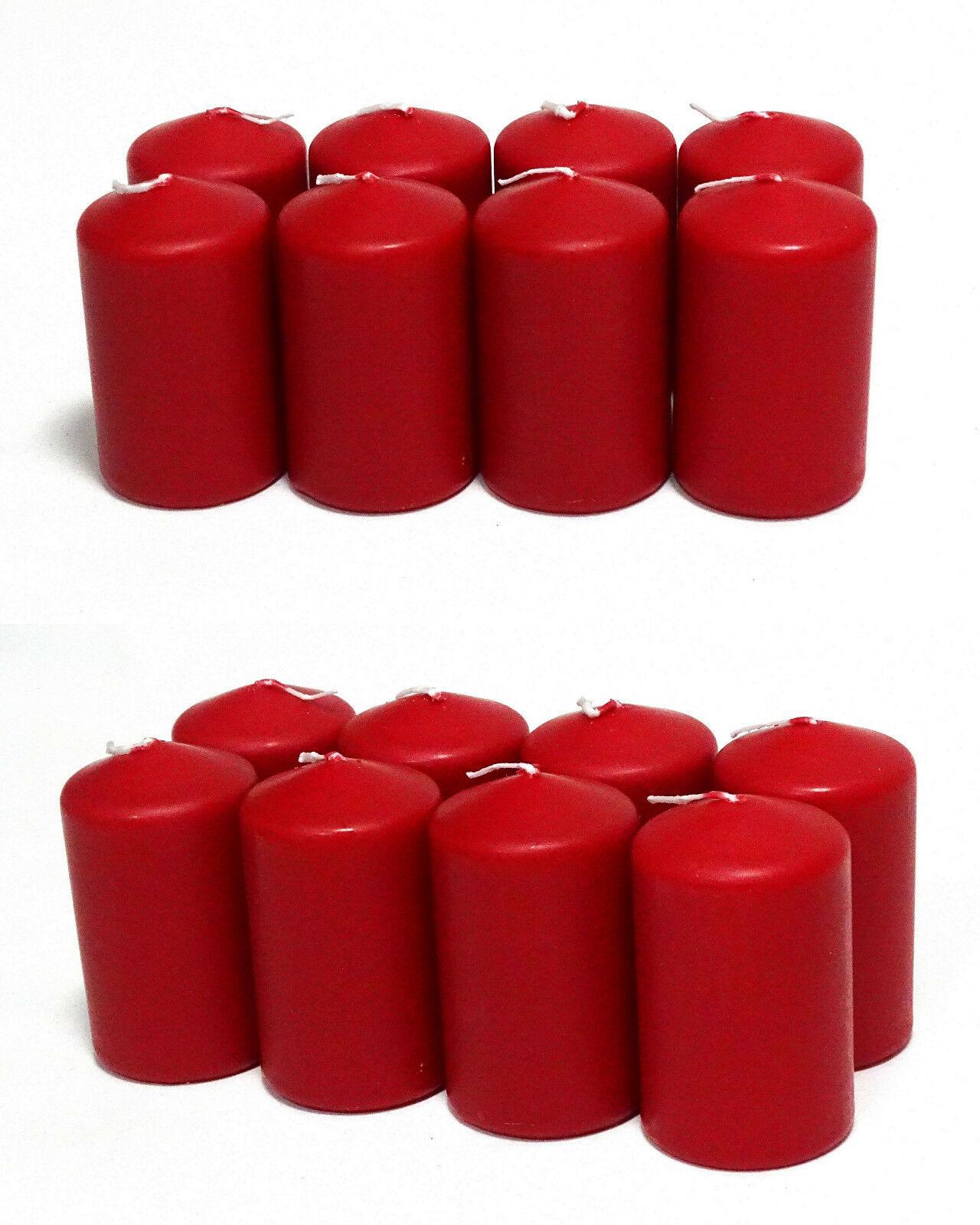 8 - 16 Stück Stumpenkerzen 95 x 58 mm Candle Stumpen Kerzen Rot - 16 Stück