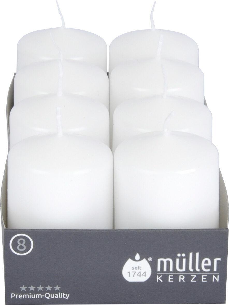 8-24 Stück Müller Stumpenkerzen 80x50 mm Qualitäts-Kerzen Weiß/Kiwi ab 0,67€/Stk - 8 x Weiß