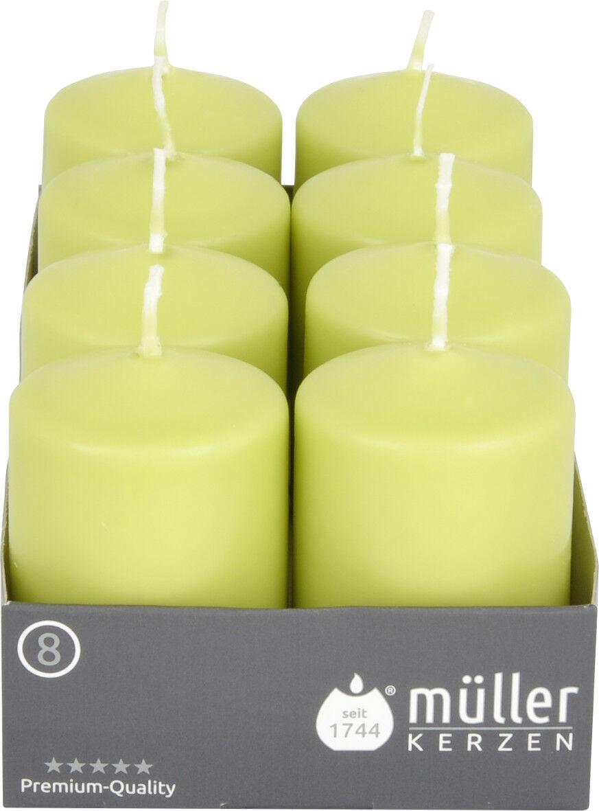 8-24 Stück Müller Stumpenkerzen 80x50 mm Qualitäts-Kerzen Weiß/Kiwi ab 0,67€/Stk - 8 x Kiwi
