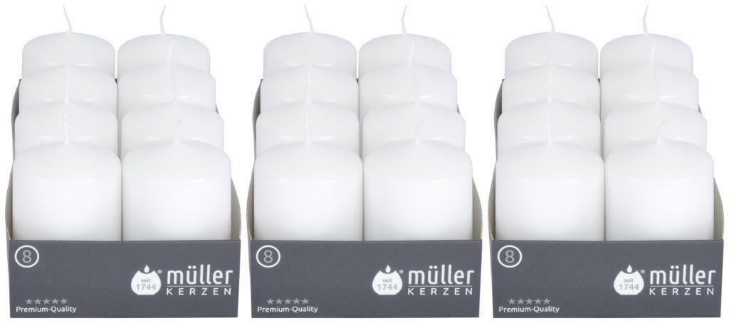 8-24 Stück Müller Stumpenkerzen 80x50 mm Qualitäts-Kerzen Weiß/Kiwi ab 0,67€/Stk - 24 x Weiß