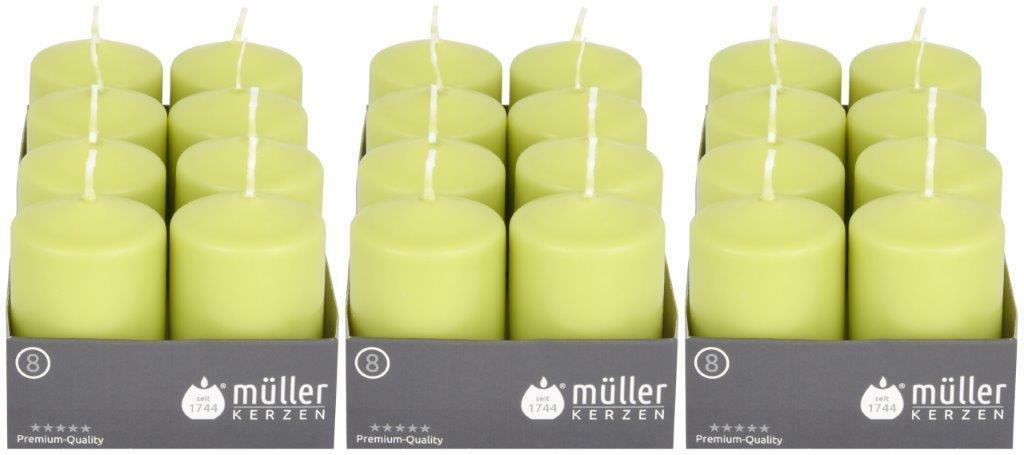 8-24 Stück Müller Stumpenkerzen 80x50 mm Qualitäts-Kerzen Weiß/Kiwi ab 0,67€/Stk - 24  x Kiwi