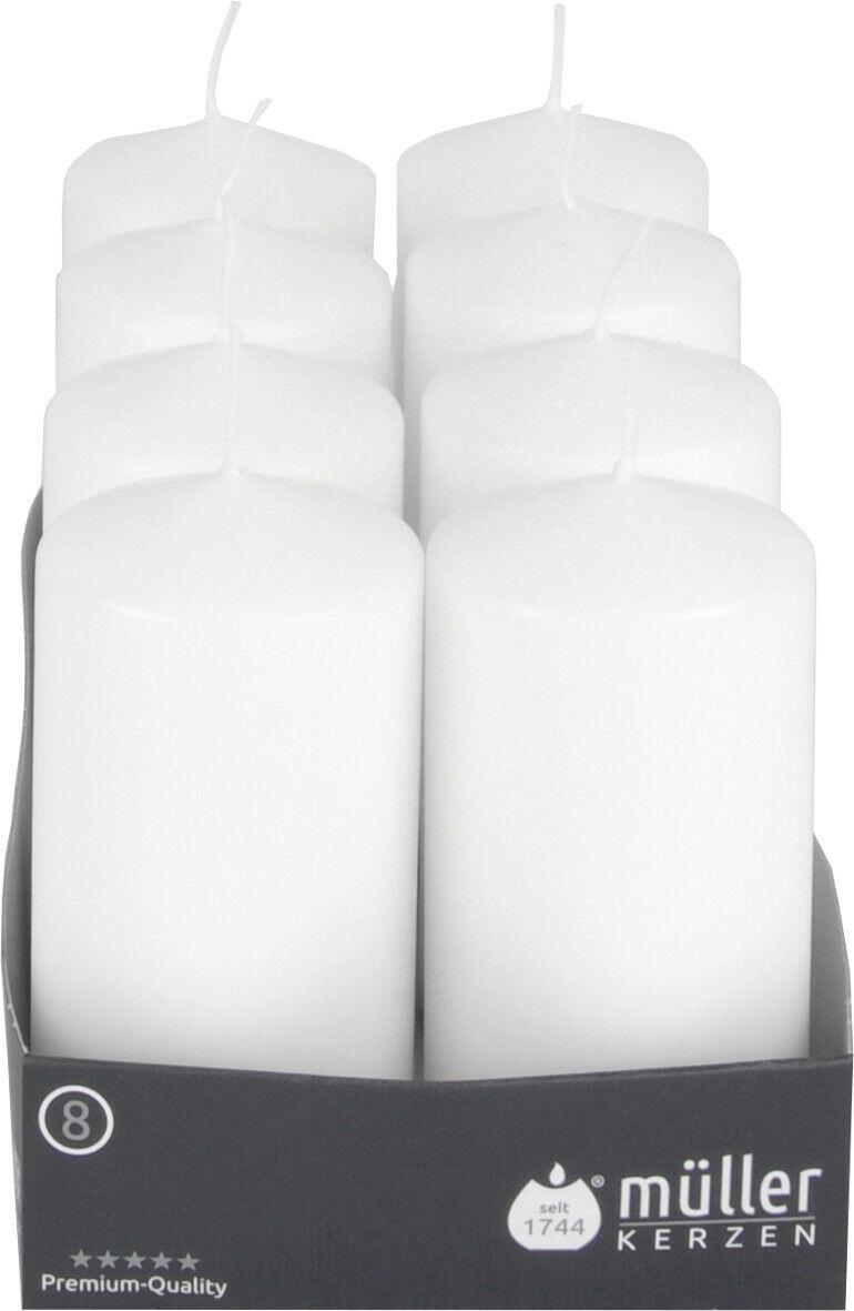 8 - 24 Müller Stumpenkerzen 120 x 60 mm Qualitäts Kerzen Weiß/Creme ab 1,29€/Stk - 8 Stück, Weiß