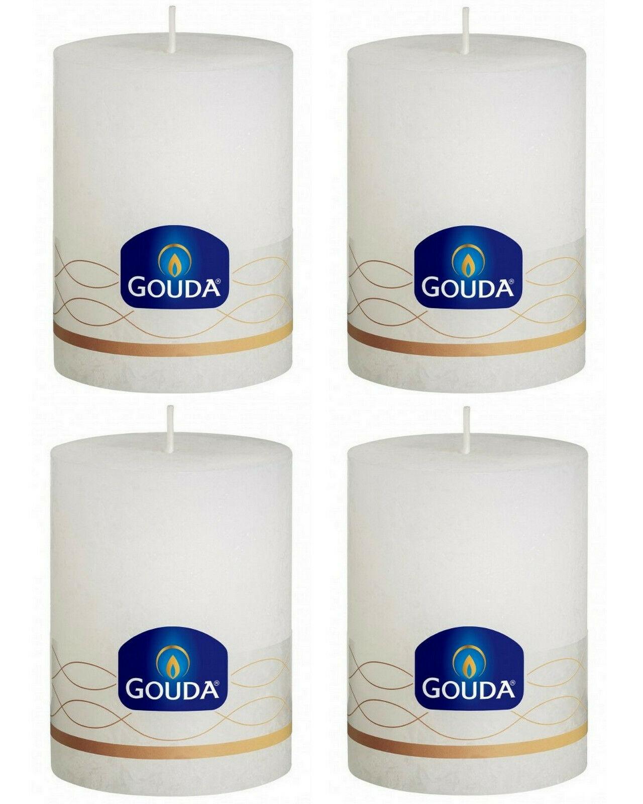 4 Stück Gouda Rustic Stumpenkerze 100x75 mm durchgefärbte rustikale Kerzen   - Weiß