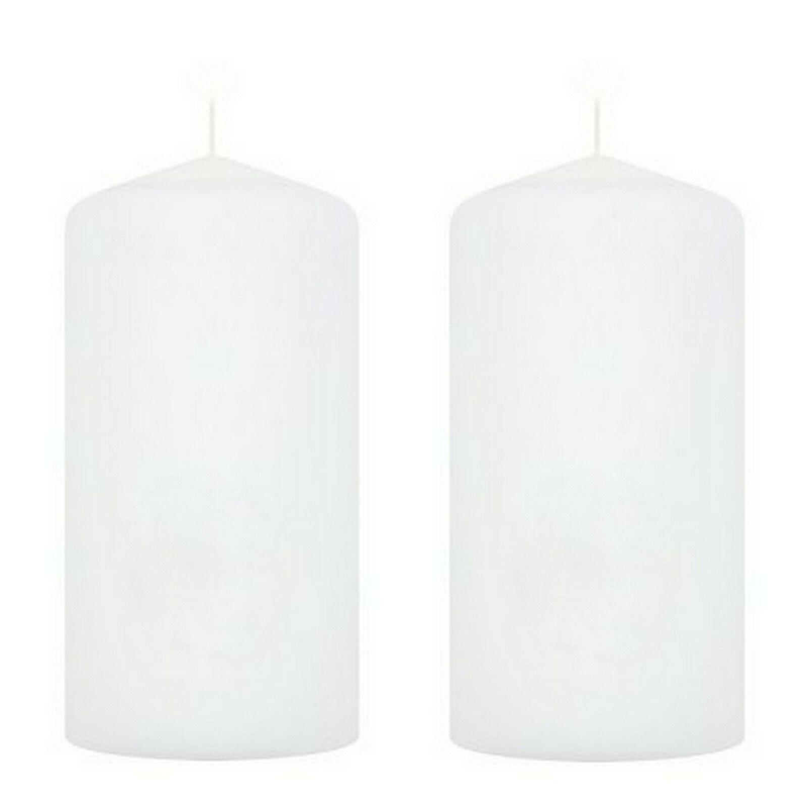 2-4 Stück Stumpenkerzen Groß 200 x 100 mm Stumpen Kerzen Wachs Windlicht Weiß - 2 Stück