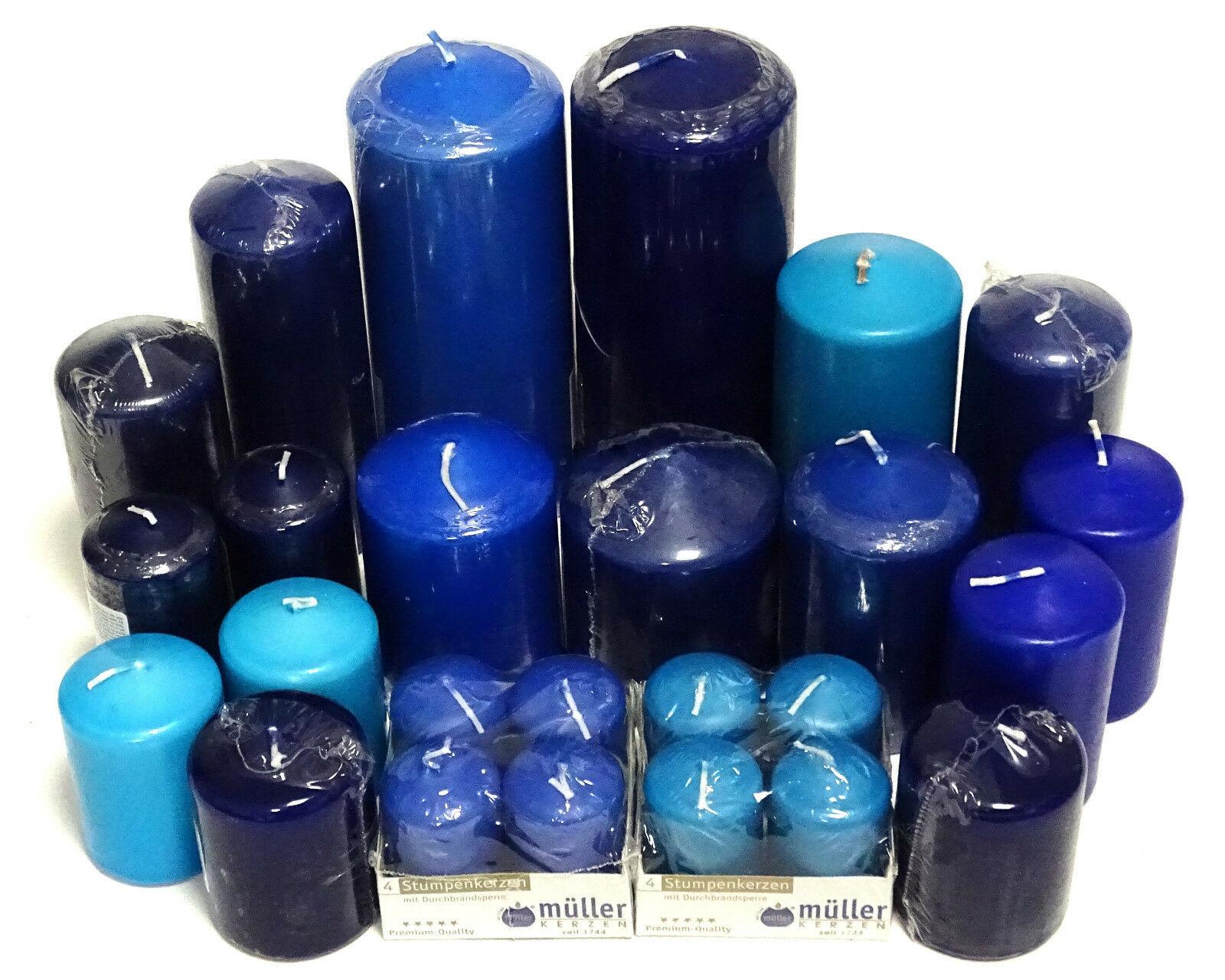 5 kg Qualität Stumpenkerzen Paket Kerzen Set Tischdeko gemischt nach Farben - Blau-Türkis
