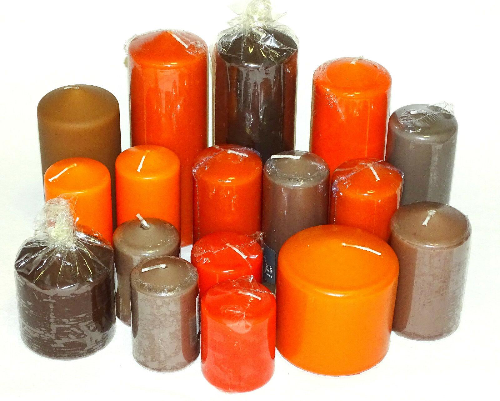 5 kg Qualität Stumpenkerzen Paket Kerzen Set Tischdeko gemischt nach Farben - Orange-Braun-Taupe