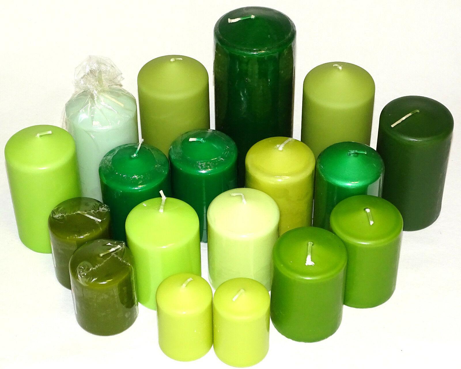 5 kg Qualität Stumpenkerzen Paket Kerzen Set Tischdeko gemischt nach Farben - Grün-Kiwi
