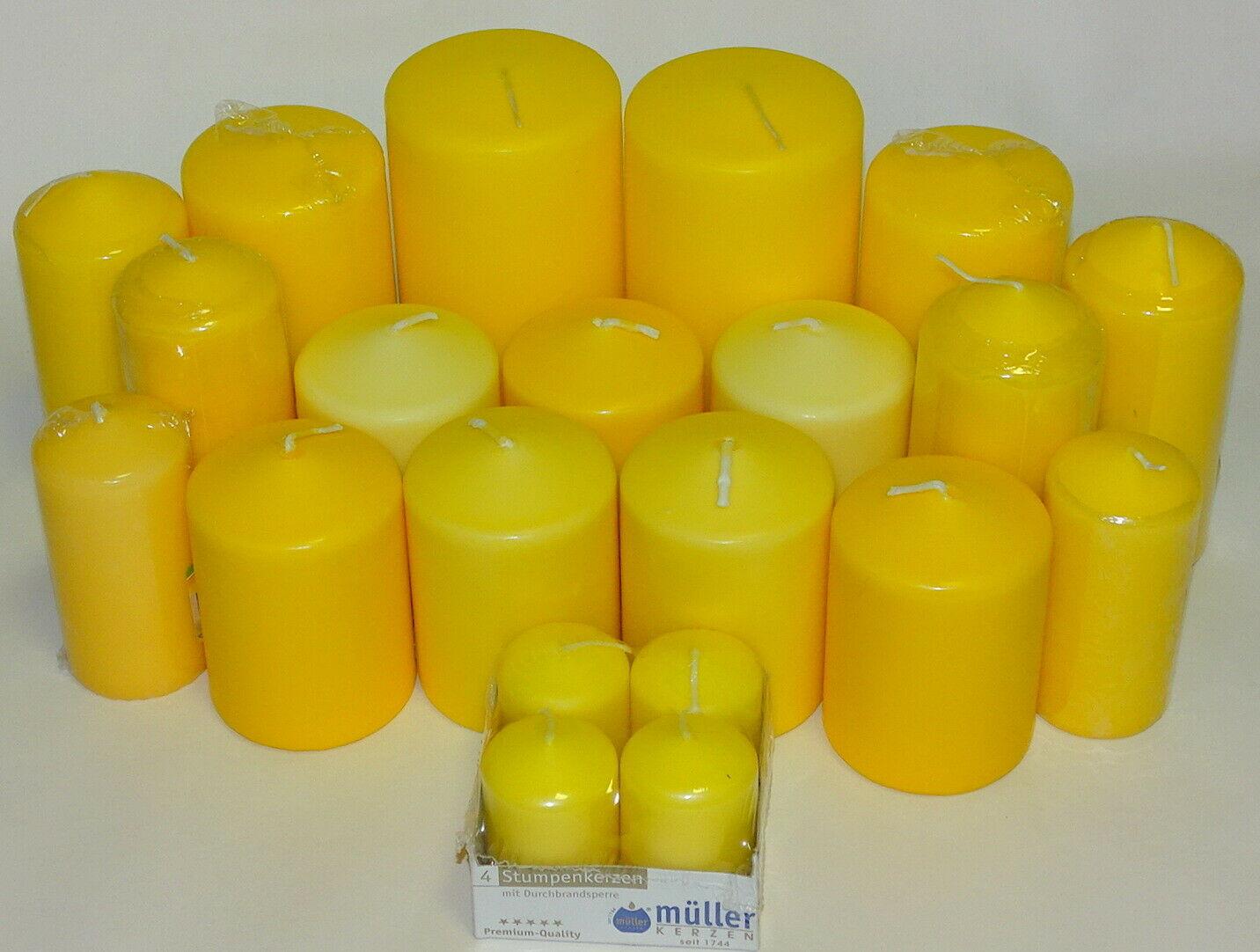 5 kg Qualität Stumpenkerzen Paket Kerzen Set Tischdeko gemischt nach Farben - Gelb
