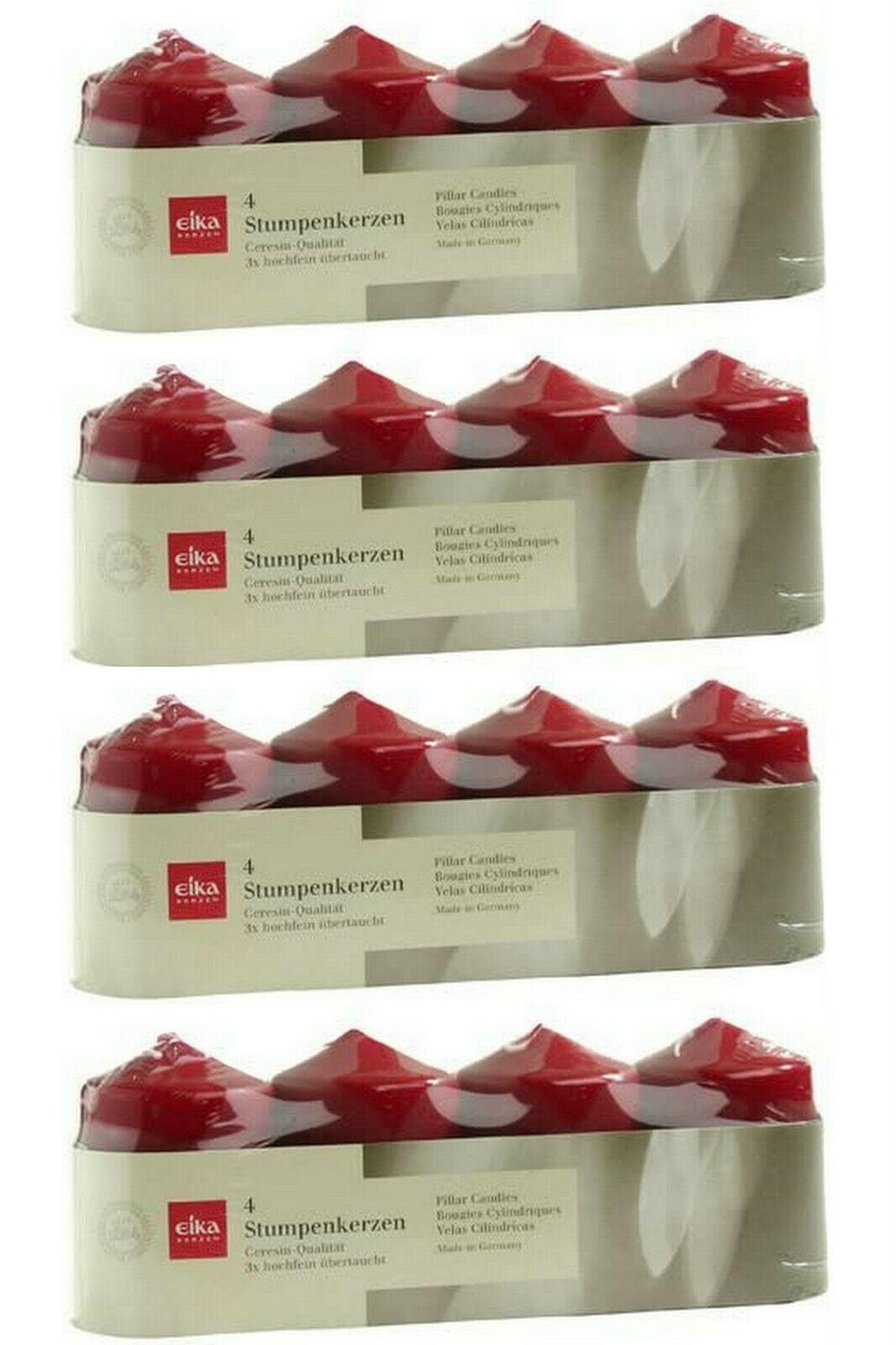 16 Stück Eika Stumpenkerzen 80x60 mm Qualitäts-Kerzen Stumpen Kerze 4 x 4er Pack - Bordeaux