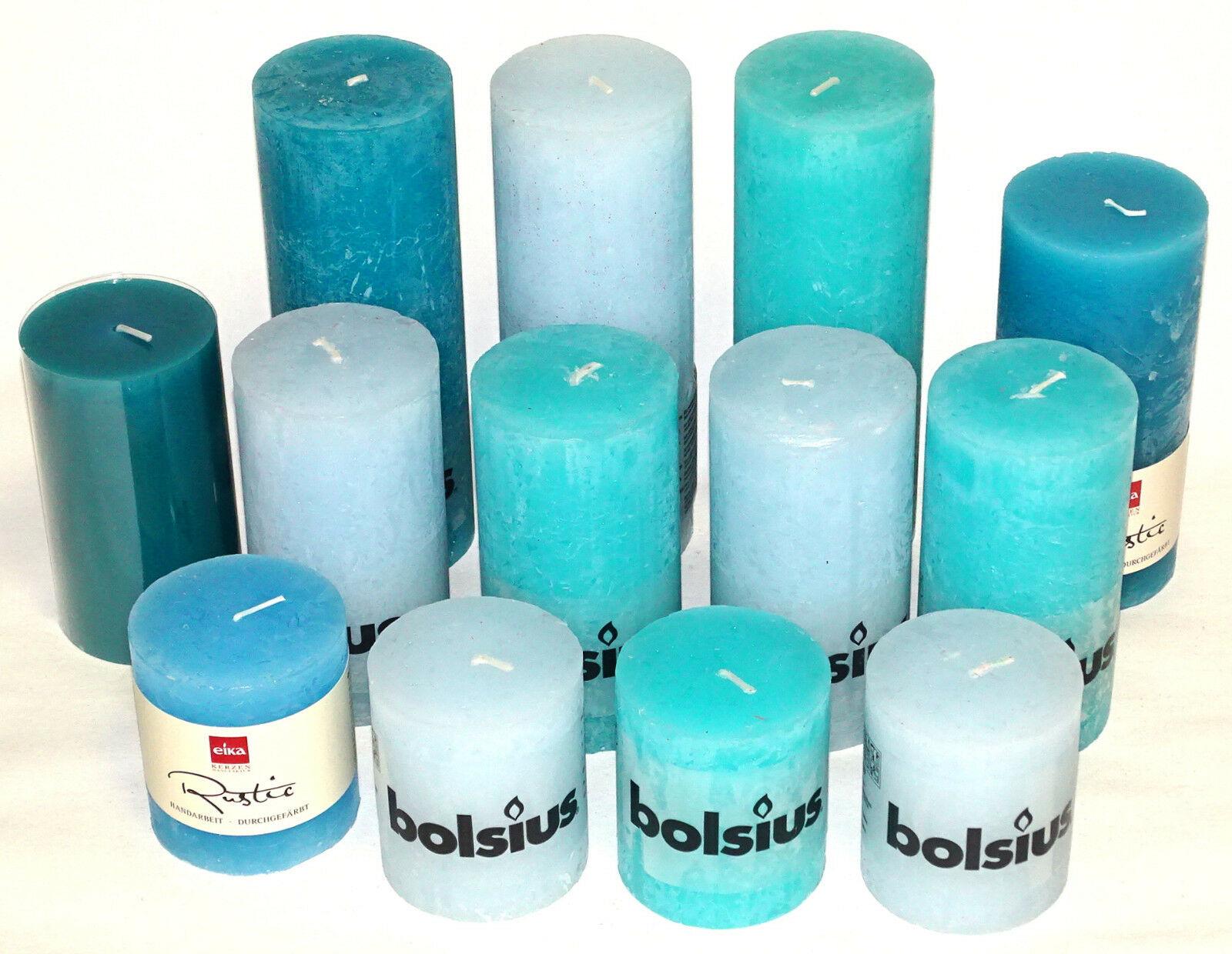 5 kg Rustic Stumpenkerzen Set Paket Kerzen Rustik gemischt nach Farben Tischdeko - Blau-Türkis 01