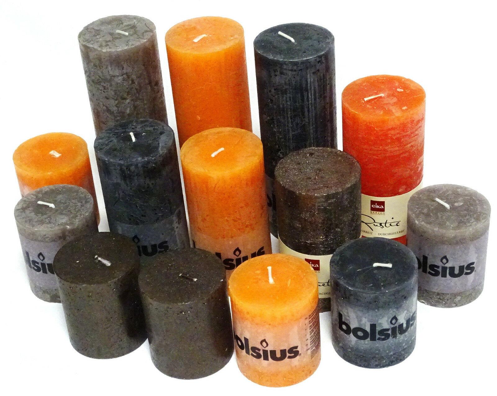 5 kg Rustic Stumpenkerzen Set Paket Kerzen Rustik gemischt nach Farben Tischdeko - Orange-Grau-Braun 04
