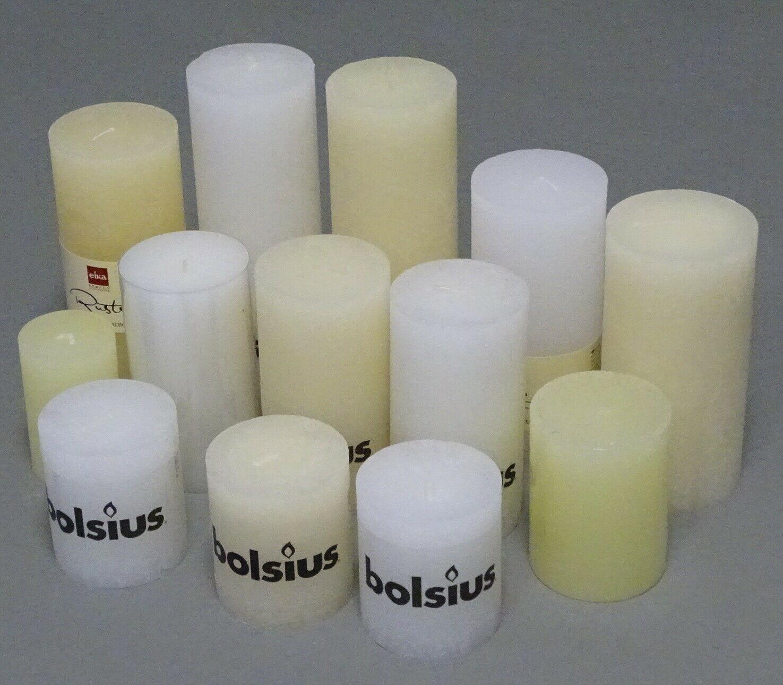 5 kg Rustic Stumpenkerzen Set Paket Kerzen Rustik gemischt nach Farben Tischdeko - Creme-Weiß 06