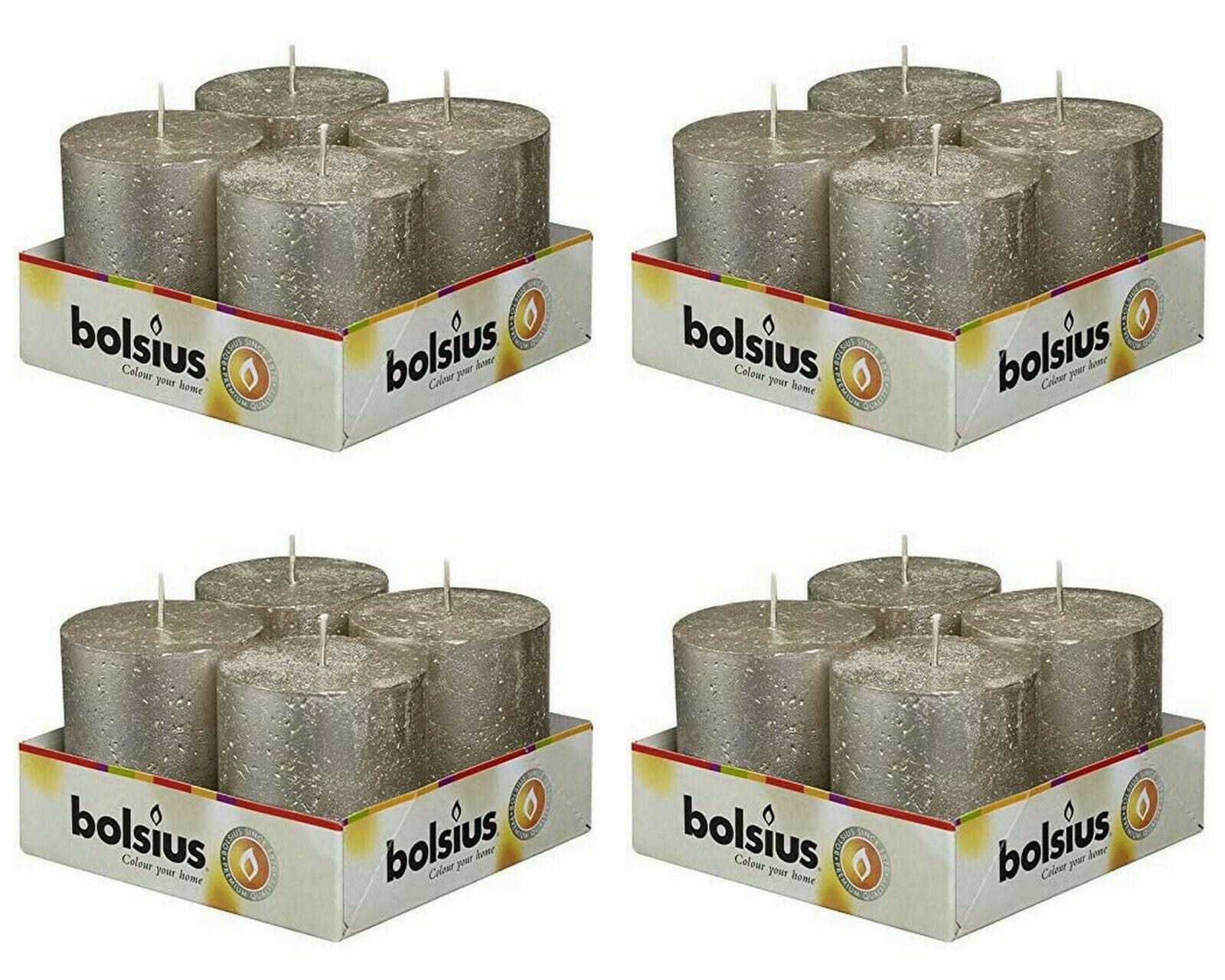 16 Stück Bolsius Rustik Stumpenkerzen 80x68 mm Metallic Champagner Rustic Kerzen