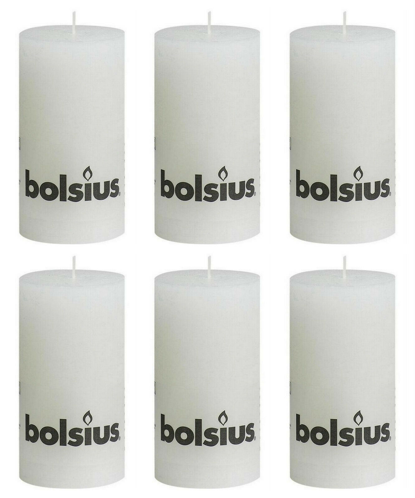 6 Stück Bolsius Rustik Stumpenkerzen 130x68 mm Rustic Stumpen Kerzen Weiß
