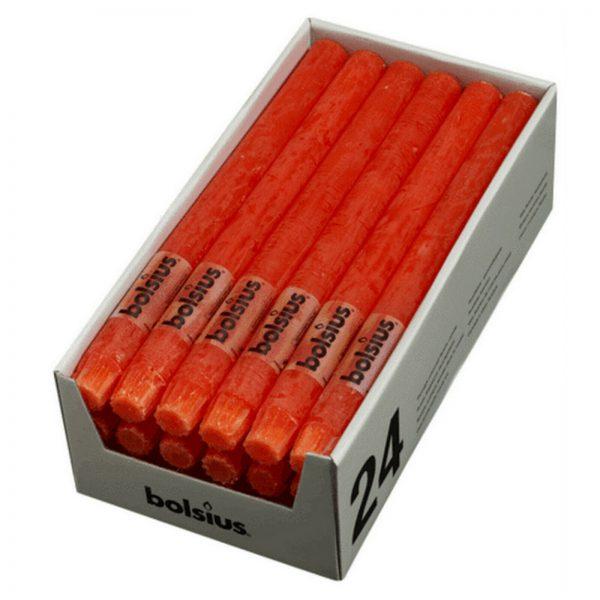 24 Stabkerzen Tafelkerzen Rustic Kerzen Groß 270 x 23 mm durchgefärbt 0,65€/Stk. - Koralle 42