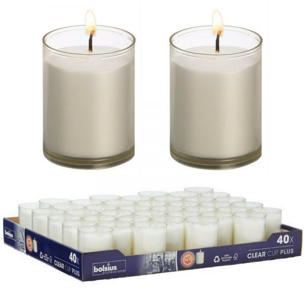 40 Stück Refill Nachfüller Kerzen Acryl Cup 42x55mm 16 h Relight Nachfüll-Lichte