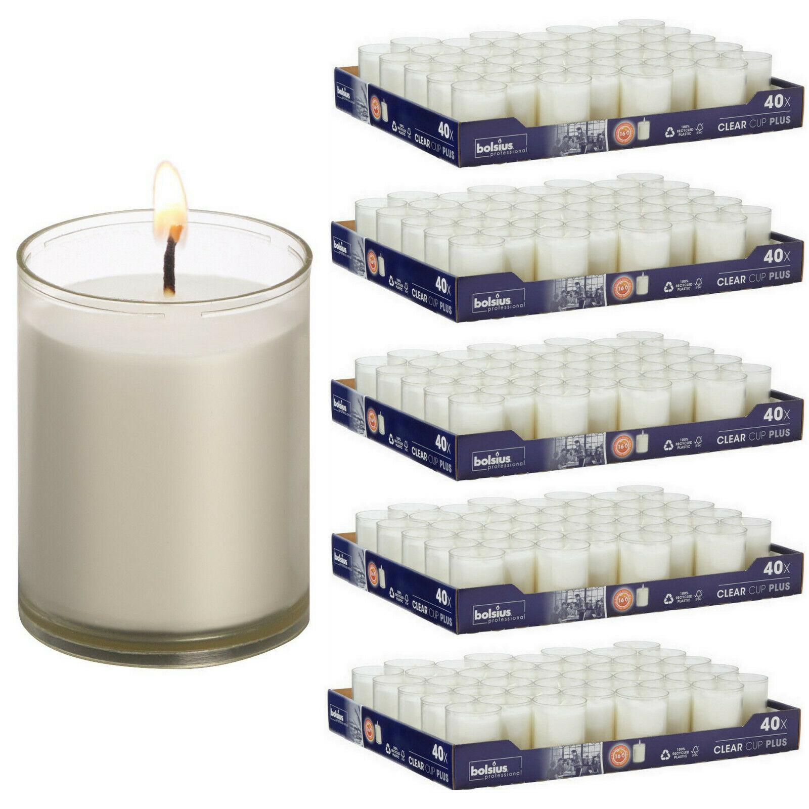 200 Stück Refill Nachfüller Kerzen Acryl Cup 42x55mm 16h Relight Nachfüll-Lichte