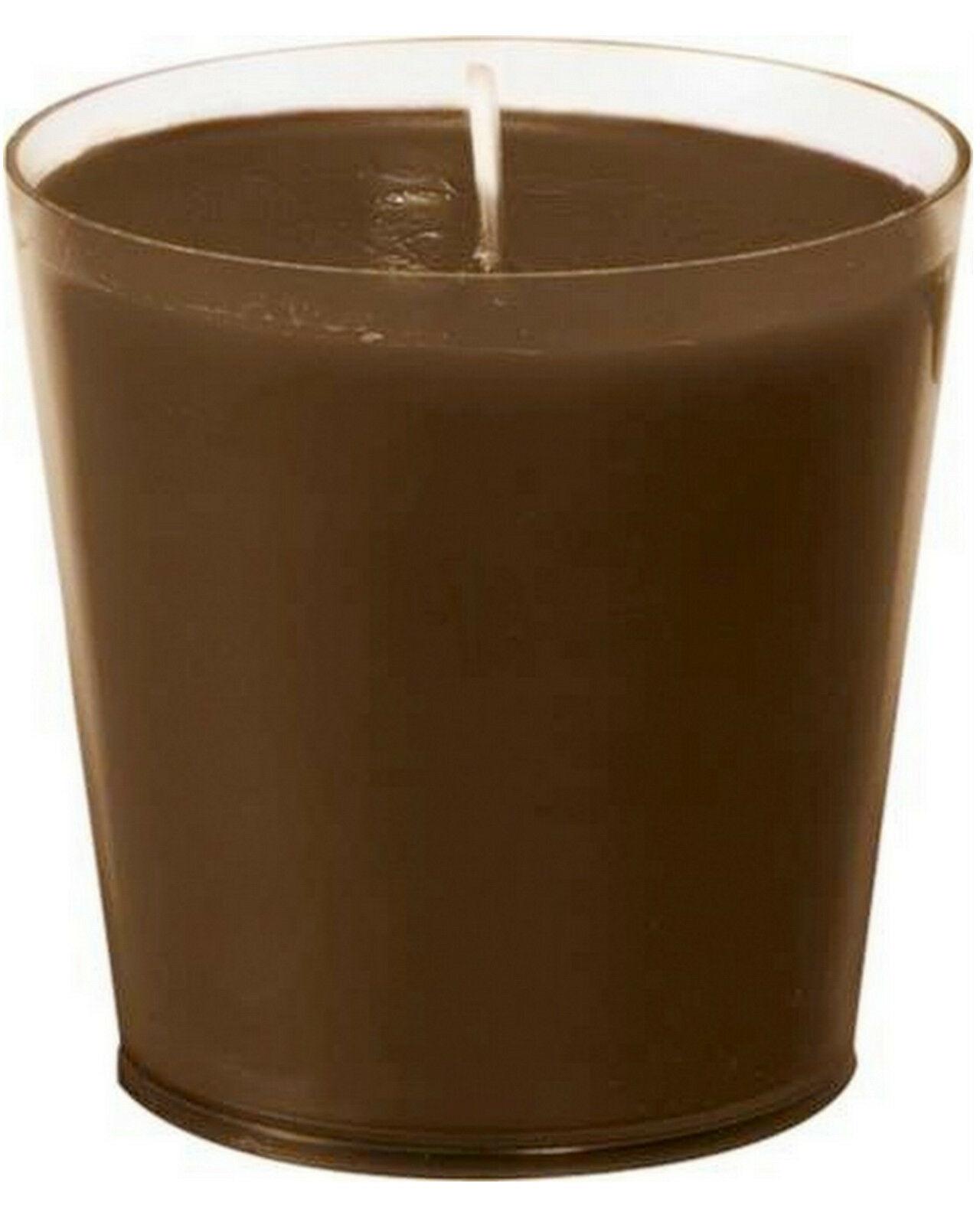 6-12 Stück Nachfüller Kerze 65 x 65mm 30h Acryl Cup Refill Wachs für Kerzenglas - Braun, 6 Stück