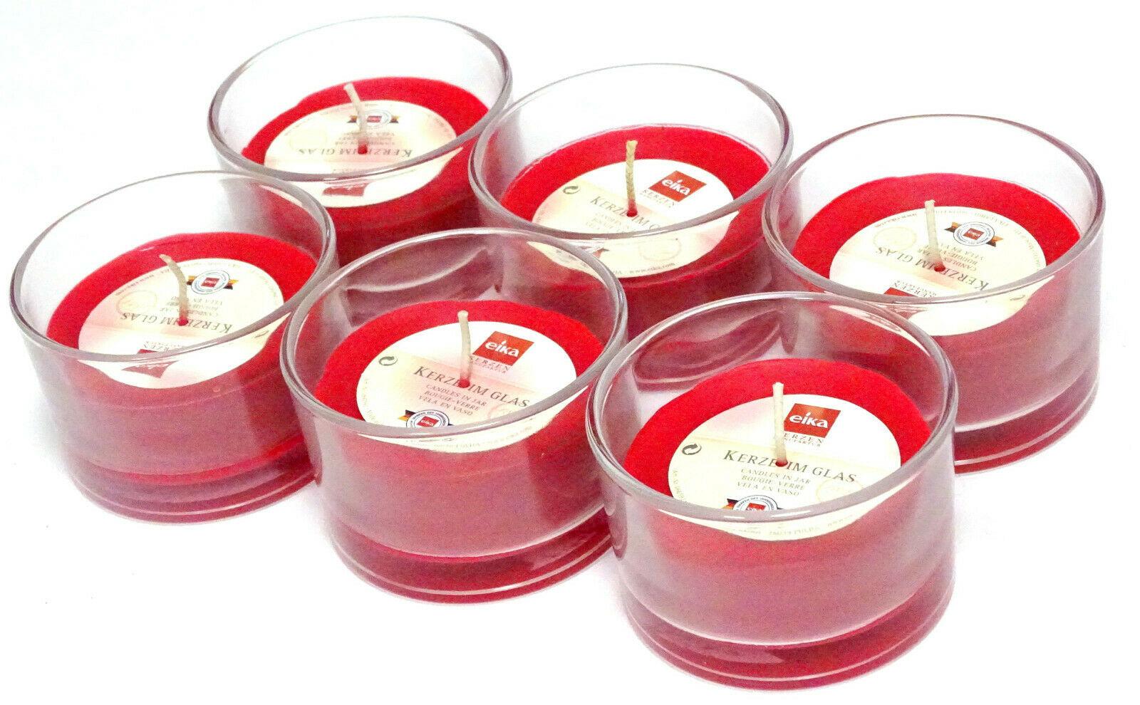 6 Stück Kerze im Glas durchgefärbte Wachs Ø 87 x 57 mm Kerzenglas Windlichtkerze - Rot 205